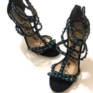 SAM EDELMAN Turquoise Studded Strappy Stilettos